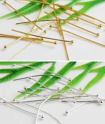 100Pcs Silver/Gold Plated Ball Pins Finding 14 Gauge Any Size To Choose
