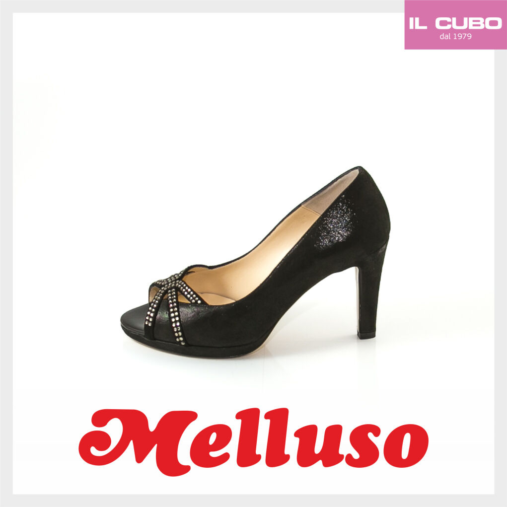 MELLUSO SCARPA women SPUNTATA CAMOSCIO color black TACCO H 8 CM MADE IN ITALY