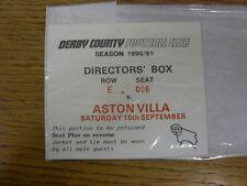 15/09/1990 Ticket: Derby County v Aston Villa [Directors Box] (creased corner).