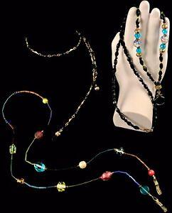 3-Vintage-Millefiori-Murano-Art-Glass-Wedding-Cake-Bead-Eyeglass-Chain-Necklace