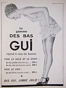 Fringant PublicitÉ De Presse 1935 La Gamme Des Bas Gui Pour La Ville Et Le Sport