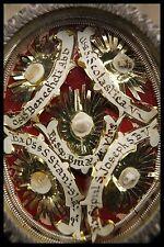 † 18TH BVM + JOSEPH + BENEDICT + SCHOLASTICA...BENEDICTINE RELIQUARY 5 RELIC WAX
