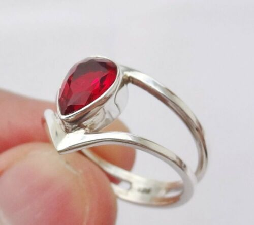 Garnet Solid 925 Sterling Silver Band Ring Handmade Jewelry sz205
