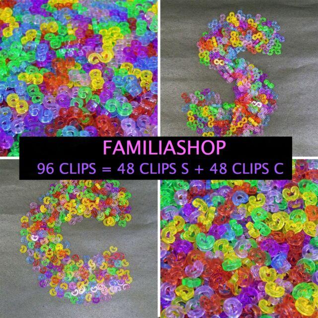 Lot 100 clips attache S C clip couleur accroche fermoir bracelet rainbow loom