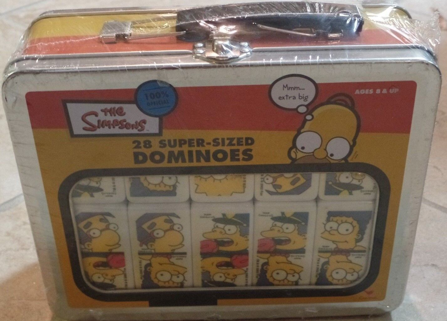 The Simpsons 28 Super-Sized Dominoes Game Lunchbox Style Tin New SEALED 2002