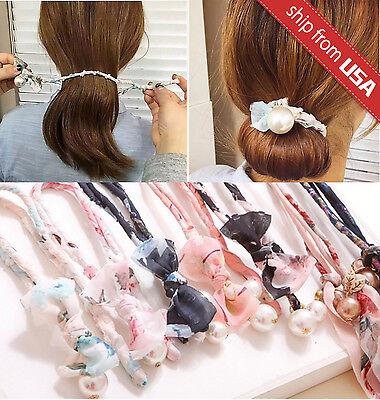 Wire BUN WRAP Top Knot Wire Wrap Mini Dolly Bow Wire Headband Rockabilly Ponytail Hair Tie Hair Bun Tie Wrap PAISLEY Pin Up