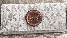 NWT Michael Kors Fulton Continental Flap Wallet Signature PVC Vanilla