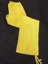 Combate De Carga Amarillo Versace Vintage Tobillo Lazo Pantalones Tamaño 24 38 UK Size 6