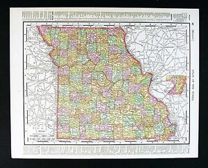 Details About 1901 Rand Mcnally Map Missouri St Louis Jefferson Kansas City Columbia Antique