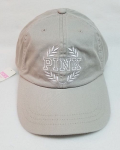 NWT 1 VICTORIA/'S SECRET PINK BASEBALL GRAY ADJUSTABLE STRAP COTTON CAP HAT O//S