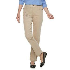 2019 real 2019 authentic brand quality Details about Women's Croft & Barrow Beige Comfort Waist Straight-Leg  Corduroy Pants Size 12