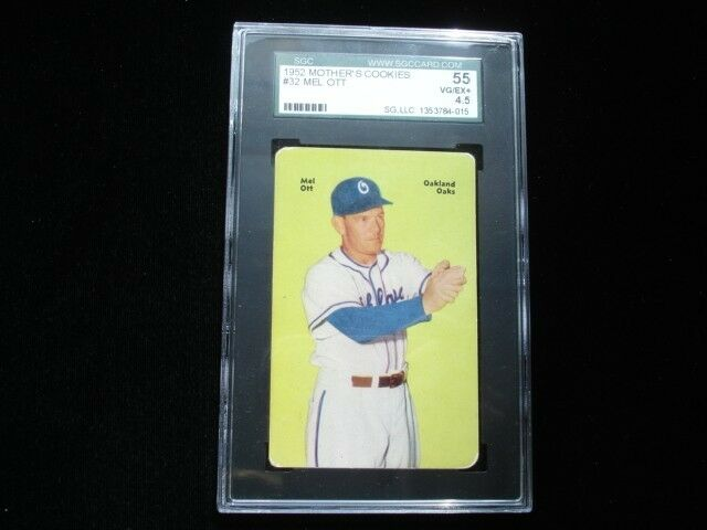 1952 Mother's Cookies #32 Mel Ott Oakland Oaks Card - SGC 55 VG/EX+ 4.5
