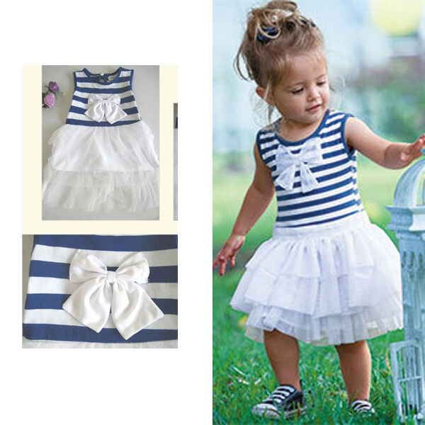 Baby Kid Girls Striped Bow Princess Pleated Dress Sleeveless Tutu Bubble FYQ