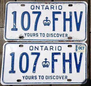AUTHENTIC-CANADA-1989-ONTARIO-PAIR-OF-LICENSE-PLATES