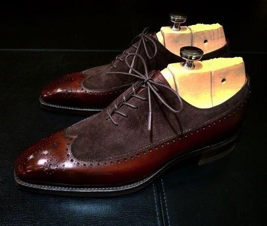 fab185b2e66 Handmade Men Wing Tip Brown shoes, Men Dress Men two tone shoes ...