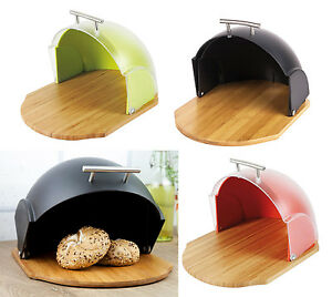 MODERN-Bread-Bin-FOOD-STORAGE-BOX-Loaf-Roll-Large-RED-KITCHEN-Black-Green-VADER