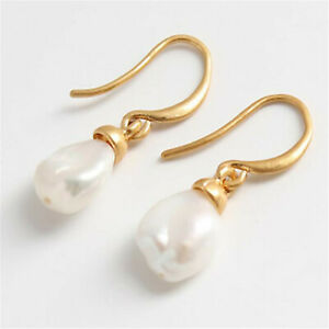 Fashion-11-12mm-White-Baroque-Pearl-Earrings-18k-Ear-Stud-Party-AAA-Real-Fashion