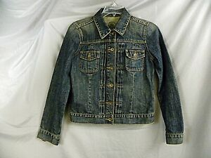 Faded Distressed Blue Denim Women's Front Jakke Gap Trucker Button Medium TqFZRFY