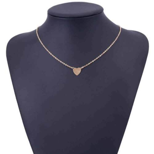 SILVER GOLD TONE VALENTINES LOVE HEART SIMPLE CHAIN PENDANT NECKLACE UK SELLER