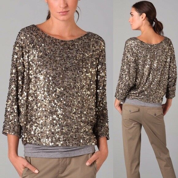 Vince Women's Crop Top Blouse golden Multi colord Sequined Oversized S
