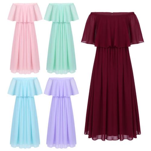 Girls Off-Shoulder Princess Long Dress Wedding Pageant Party Chiffon Maxi Dress