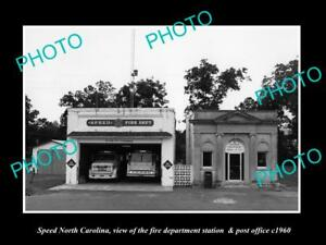 OLD-LARGE-HISTORIC-PHOTO-OF-SPEED-NORTH-CAROLINA-THE-FIRE-STATION-amp-PO-c1960