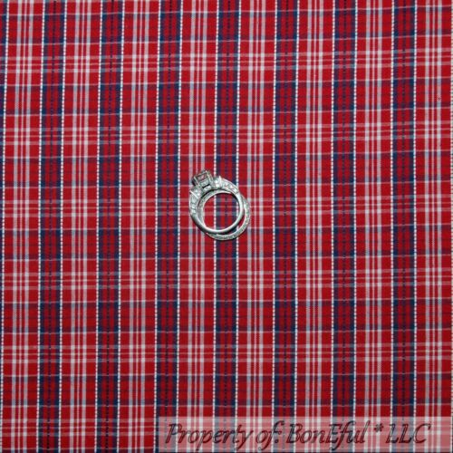 BonEful Fabric FQ Cotton Quilt Red White Blue Plaid Calico Gingham Check Stripe