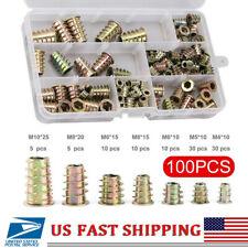 100 Pcs Hex Drive Wood Screw Inserts Nuts Kit M4 M5 M6 M8 M10 Assortment Thread