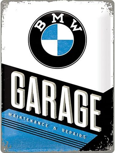 na BMW Garage large embossed metal wall sign 400mm x 300mm