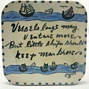 Vintage-Sailboats-Trivet-Tile-Plaque-Nautical-Vessels-Verse-Ceramic-Handmade