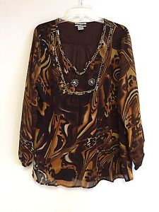Women S Printed Embellished Polyester Plus Size Tunic Top Blouse 1x