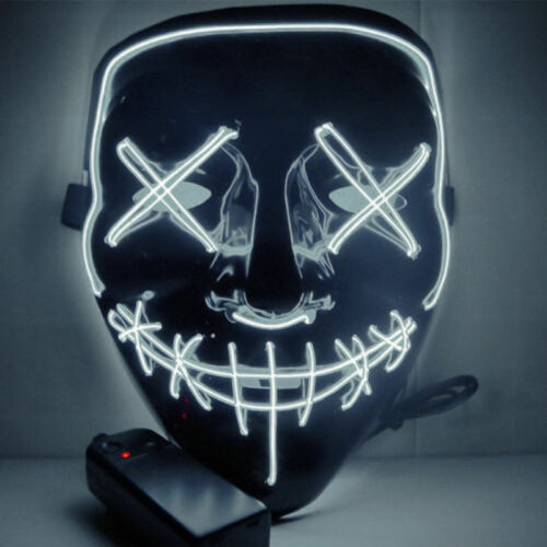 Halloween LED Glow Mask 3 Modes EL Wire Light Up The Purge Movie Costume Party