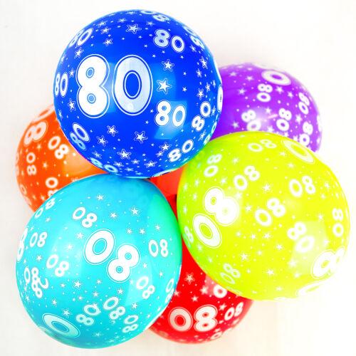 Globos De Cumpleaños 80th Con Números Impresos Calidad de Látex Fiesta-Paquete de 10