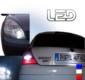 CLIO-2-Kit-11-Ampoules-LED-Blanc-Veilleuses-plaque-Habitacle-interieur