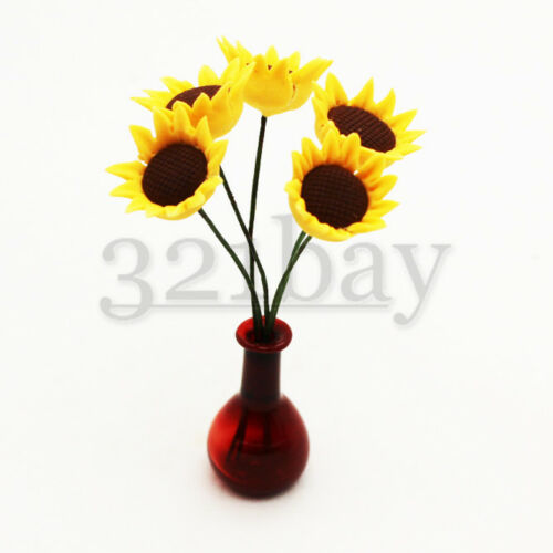 Clay Sunflower Miniature Garden 1:12 Scale Dollhouse Decor Accessory Polymerclay