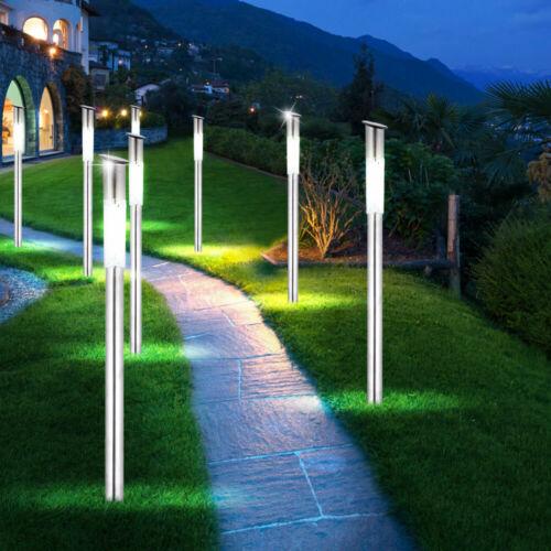 7x LED Solar Erdspieß Leuchten Außen Beleuchtung Edelstahl Veranda Steck Lampen