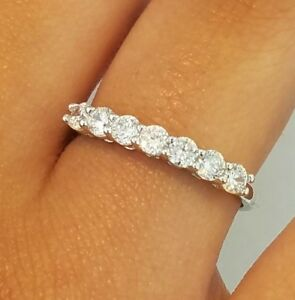 14k-White-Gold-Half-Eternity-50-Ct-Round-Diamond-Ring-Wedding-Band-Stackable