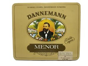 Dannemann-Menor-SUMATRA-sigari-sigaro-in-metallo-latta-Pubblicita-Germania-vuota-vintage