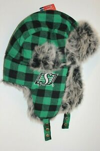 SASKATCHEWAN-ROUGHRIDERS-GREEN-AND-BLACK-PLAID-TRAPPER-HAT-WITH-GREY-FUZZ-NEW