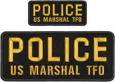 POLICE embroidery patches 4x10 and 2x5 hook on back GOLD letters Od GREEN