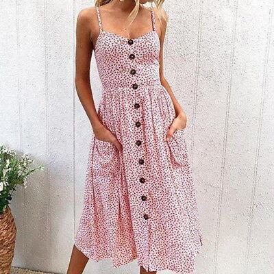 Damen Kleid Trägerkleid Lang Abend Party Cocktail Freizeit Strandkleid Floral HS