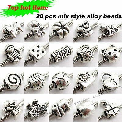 40x New Assorted Alloy Charms Bead Fit Bracelets 150164
