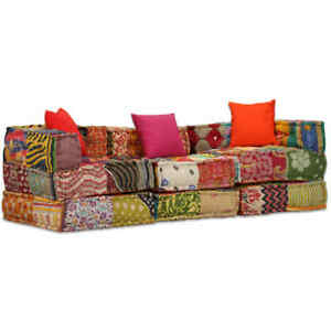 vidaXL-Pouf-3-Sitzer-Modular-Patchwork-Stoff-Sitzpouf-Sofa-Couch-Schlafsofa