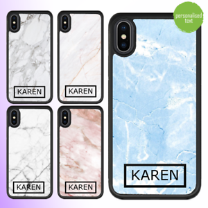 For iPhone 12 Pro Max 11 XS Case Marble IV Personalised Text Initial Custom Name