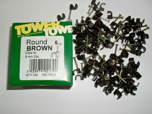 Tower Round cable clips Brown Packs of 100 and 1000 Available  4.0mm 6.0mm