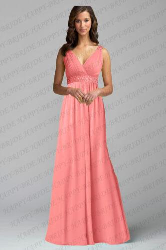 Nouvelle longue col V en mousseline de soie Soirée formelle Parti robe de bal bal demoiselle d/'honneur Robes