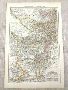 1895 Map Of Afghanistan Balochistan Alte Pakistan Antik 19th Century Victorian