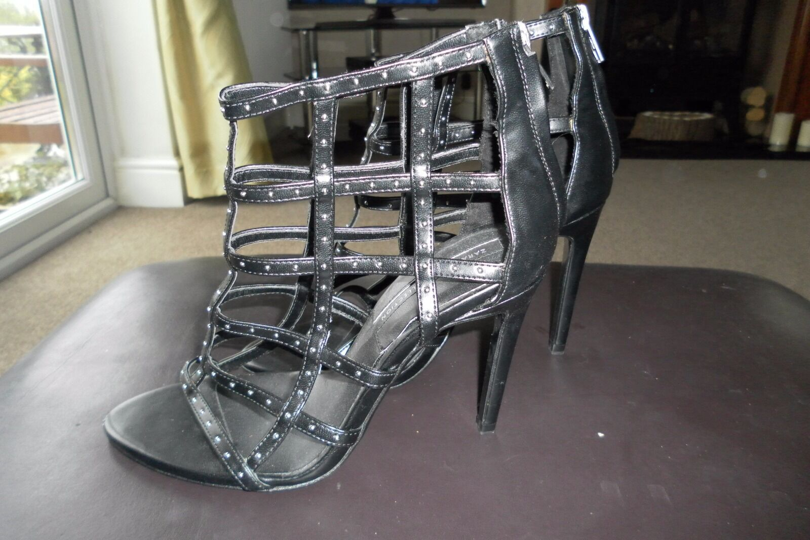 Zara Black Genuine Leather Gladiator Studded Peep Toe High Heels UK 5 EU 38