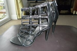 Zara-Black-Genuine-Leather-Gladiator-Studded-Peep-Toe-High-Heels-UK-5-EU-38