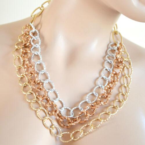 COLLANA GIROCOLLO donna catena argento oro anelli Collar Necklace ожерелье A67